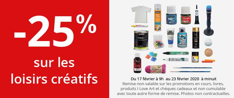 -25% sur les produits pour les loisirs créatifs