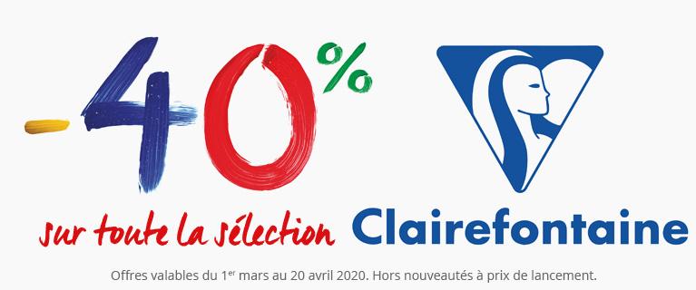 -40% sur une sélection de produits Clairefontaine !