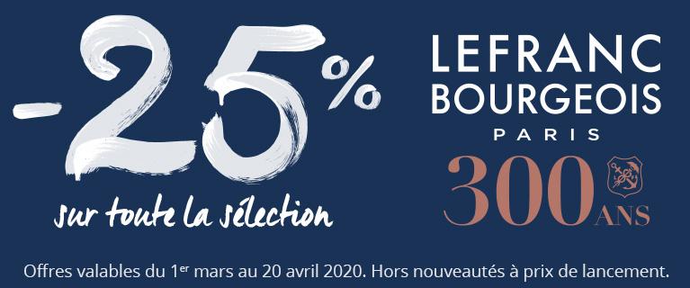 -25% sur une sélection de produits Lefranc & Bourgeois !