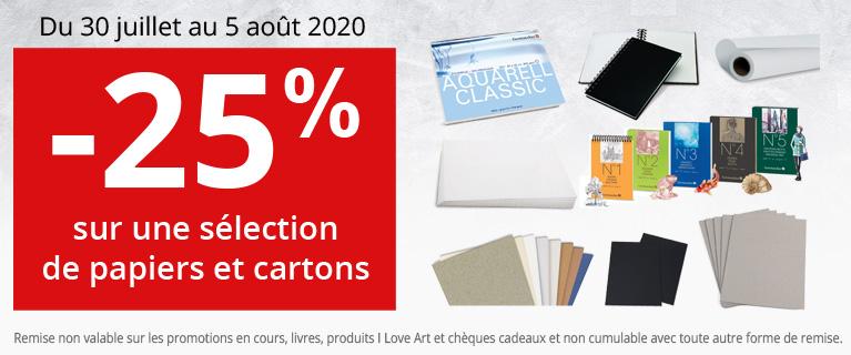 25% sur une sélection de papiers et cartons