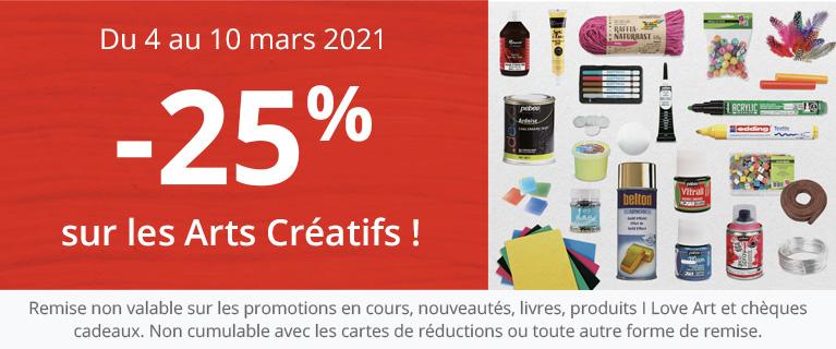 -25% sur les arts créatifs
