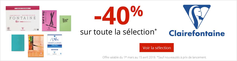 -40% sur une sélection de produits Clairefontaine.