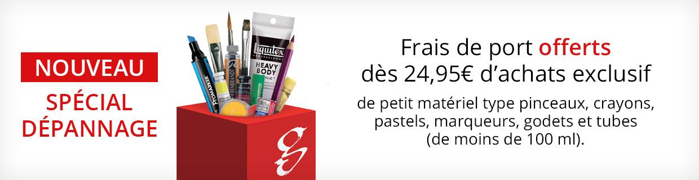 Service dépannage : livraison offerte dès 24,95€ d'achats pour une sélection de petits articles.