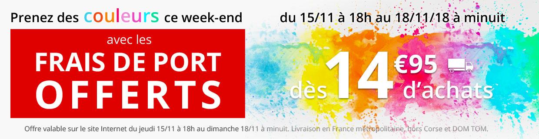 Frais de port offerts dès 14,95€ d'achats ce week-end seulement !
