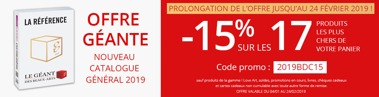 -15% sur les 17 produits les plus chers de votre panier - Offre géante - nouveau catalogue général 2019 !