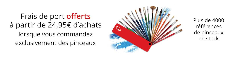 Livraison offerte pour les commandes contenant uniquement des pinceaux, à partir de 24,95€ d'achats